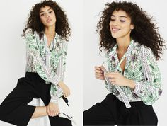 An unapologetically feminine, green-and-pink printed blouse can go a long way toward lending life to a workwear basic like plain black slacks. We like the pairing with sneakers, though office-friendly pumps work just as well.