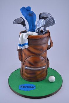 Golf bag cake - Cake by Novel-T Cakes Golf Cake Ideas Cakes (This is an affiliate link) To learn more, go to photo link. Fondant Cakes, Cupcake Cakes, Cupcakes, Golf Birthday Cakes, Sports Themed Cakes, Birthday Cake For Husband, Retirement Cakes, Bag Cake, Cake Pop Sticks