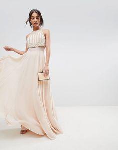 ASOS Crop Top Maxi Dress With Pearl Embellishment at asos.com 0522e385d