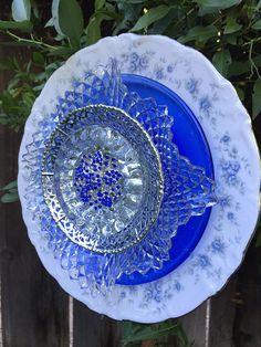 Plate Flower Vintage Glass Garden Decor Silver