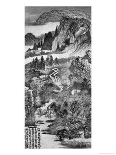 Mountain Landscape, after Huang Gongwang 1671 Giclee Print by Daoji Shitao Yuanji - AllPosters.co.uk