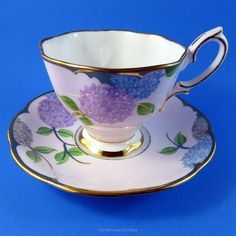 Royal Albert Purple and Blue Floral on Pink Tea Cup and Saucer Set | Pottery & Glass, Pottery & China, China & Dinnerware | eBay!
