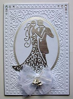 Debbie's Cards. Couple die by Tattered Lace Embossing folder from Be Merry set by Sizzix