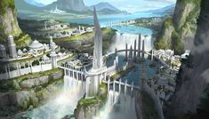 Fantasy City, Fantasy Castle, Fantasy Places, High Fantasy, Anime Fantasy, Fantasy World, Fantasy Art Landscapes, Fantasy Landscape, Landscape Art