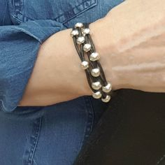 Black Leather and Silver Bead Bracelet for Women is Classic and Elegant.