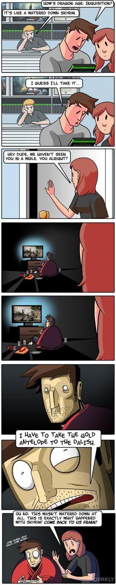 Dragon age inquisition y Skyrim no son iguales para nada. Dragon Age Inquisition, Solas Dragon Age, Dragon Age Funny, Dragon Age Games, Video Game Memes, Video Games Funny, Funny Games, Gamer Humor, Gaming Memes