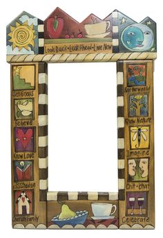 Sticks Mirror st150d, 19Wx29Hx2D Inches, Hand Painted Wood, Theme, Sun, Moon, Mountains, Food, Family, Heart, World, Celebrate, Inspirational Words, Phrases, Sayings, Look Back, Look Ahead, Live Now