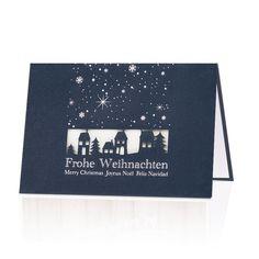 """Weihnachtskarte """"Geschäftspartner""""aus einem durchgefärbten blauen Premiumkarton, mit stimmungsvoller Stanzung und schimmernder Silberfolienprägung & Einlegeblatt. Sehr elegant!"""
