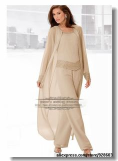 Chiffon with beading Three Piece mother of the bride pants set with long coat-in Mother of the Bride Dresses from Weddings & Events on Aliexpress.com | Alibaba Group