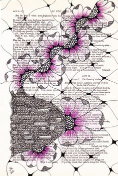 "From the blog, ""No Matter Where I go...I ALWAYS Meet Myself There!"" Found poetry. Zentangling/doodling on pages from Shakespeare's Complete Works. Several examples shown in post. Great idea for found poetry and art journaling."