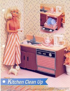 Plastic Canvas Pattern Fashion Doll Kitchen by prettypelican, $4.00