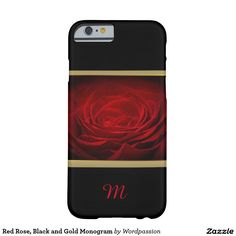 Red Rose, Black and Gold Monogram
