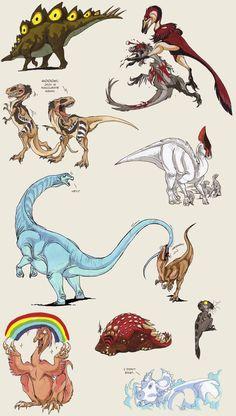 Copic flood 2 - dinosaurs by IsisMasshiro on DeviantArt Cool Dinosaurs, Jurassic World Dinosaurs, Jurassic Park World, Fantasy Creatures, Mythical Creatures, Dinosaur Drawing, Extinct Animals, Prehistoric Creatures, Creature Concept