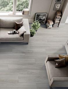 Grey Kitchen Designs, Kitchen Room Design, Living Room Sofa Design, Living Room Flooring, Floor Design, House Design, Grey Laminate Flooring, Grey Wood Tile, Minimal Home