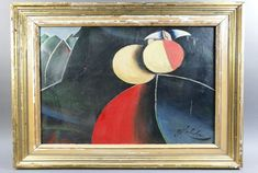 Milan laluha 1930-2013 abstrait peinture huile Composition sur fond sombre sig.
