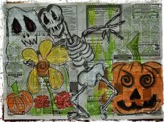 Halloween, Pastels and Newspapers Creative Expressions of Art - Meadville Pa www.facebook.com/creativeexpressionsofart