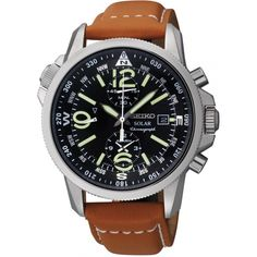 Seiko Solar Chrono Compass Brown ref. number horloge voor heren Seiko Solar Chrono Compass Brown ref. Best Watches For Men, Cool Watches, Latest Watches, Wrist Watches, Seiko Solar, Herren Chronograph, Solar Watch, Skeleton Watches, Seiko Watches