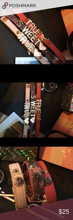 "BCBG  Bracelet!! Cool BCBG Bracelet ""True"" ""Sweet"" Affirmation Charms Rose Gold Slightly Tarnished BCBGeneration Jewelry Bracelets"