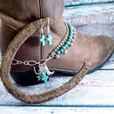 Cowgirl Boot Bling - custom orders taken, contact me on Etsy - HeldHighDesigns Vintage Rosary beads, real turquoise, vintage rhinestone chain, various charms