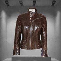 Madonna Brown Ladies Genuine Real Leather Womens Retro Biker Jacket