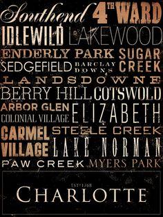 Charlotte North Carolina Typography graphic art by geministudio, $59.00