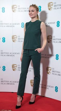 Back in London: Sophie Turner jetted straight back into the UK to announce the 2017 BAFTA nominations on Tuesday morning