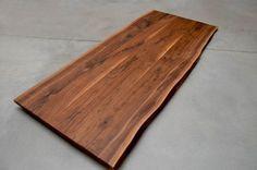 Schreibtischplatte holz  Details zu Tischplatte Platte Nussbaum Massiv Holz mit Baumkante ...