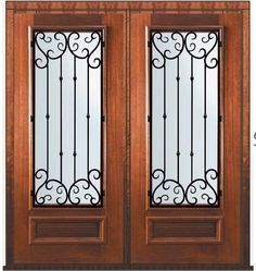 $3400 Pre-hung Double Door 80 Wood Mahogany Valencia 3/4 Lite Wrought Iron
