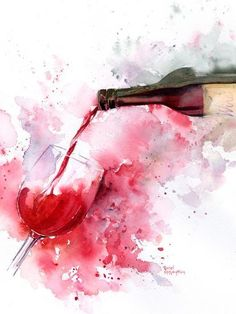 Art Print: Red Wine Pour by Rachel McNaughton : If you love wine as much as we do, check out our wine art canvas wrap & tees range - click that link! Wine Painting, Watercolour Painting, Painting Canvas, Watercolors, Bear Watercolor, Acrylic Canvas, Canvas Art, Art Du Vin, Art Surf