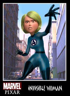 Invisible Woman (see more on http://www.tranchesdunet.com/les-heros-marvel-vus-par-pixar/ )