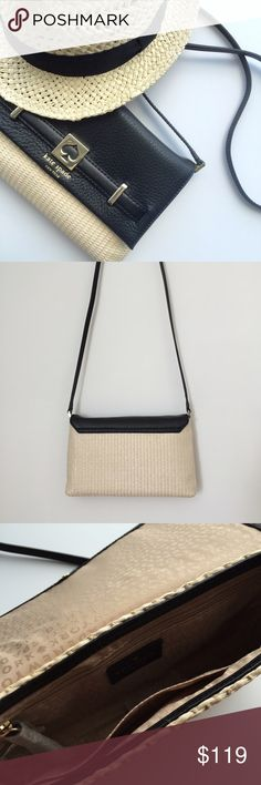 """♠️Kate Spade♠️ Loula Crossbody BRAND NEW black leather & woven straw ♠️Kate Spade Crossbody. Magnetic closure for main compartment. Interior zip and open pockets. Size: 10"""" x 6.5"""" x 1.5"""". Excellent condition. kate spade Bags Crossbody Bags"""