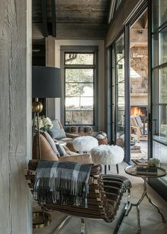 You can find this modern chalet design in the USA. The chalet is located near the ski resort. So, there's a sauna, heated pool, and outdoor terrace. Chalet Design, Chalet Style, Ski Chalet, Living Spaces, Living Room, Cabin Interiors, Architecture Interiors, My New Room, Sweet Home