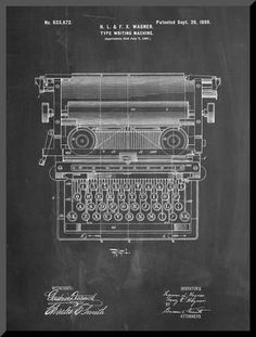 Underwood Typewriter Patent Mounted Print by Cole Borders at Art.com