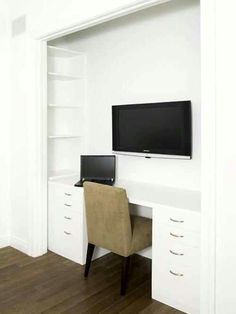 Closet office - I wish I had a tv to do this, and I wish my desk would be this long...