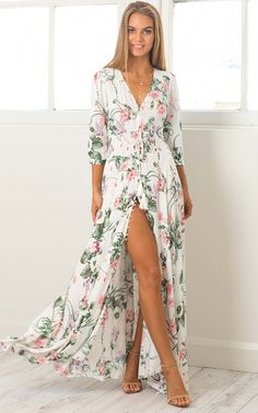 Pink and White Wrap Floral Maxi Dress