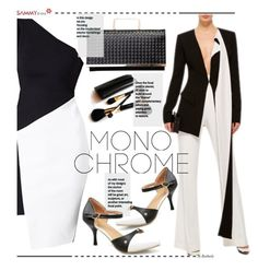 """Make It Monochrome"" by beebeely-look ❤ liked on Polyvore featuring Prabal Gurung, Iman, monochrome, blackandwhite, classy, Elegance and sammydress"