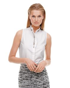 J.Crew ruffled rhinestone top. I love the placement of those rhinestone details. :)