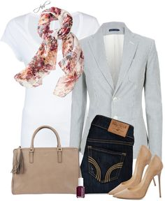 """striped blazer + floral scarf"" by jill-hammel ❤ liked on Polyvore"