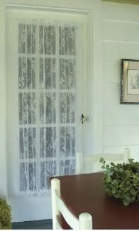 The Heritage Lace English Ivy Door Curtain Panel adds a finished look without blocking out the light. This sheer white lace door curtain panel features.