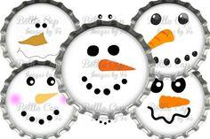 Digital Bottle Cap Images Snowmen Smiley Faces