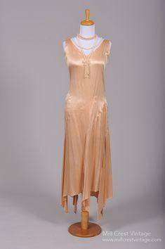 1930 Asymmetrical Silk Satin Vintage Wedding Dress : Mill Crest Vintage