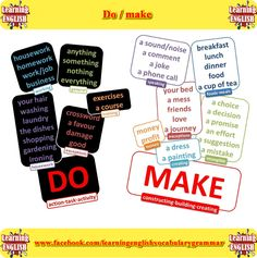 Do and make collocations. How to use do and make - English vocabulary
