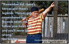Heroes get remembered but legends never die Save 70 on Vac… Sandlot Quotes, The Sandlot, Movie Quotes, Life Quotes, Softball Quotes, Softball Mom, Sport Quotes, Softball Stuff, Baseball Sayings