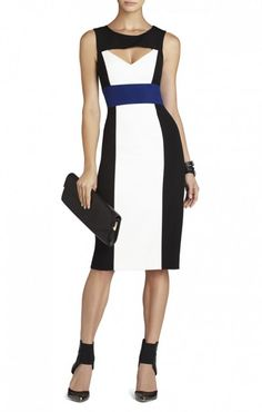 $175.00 Carefully placed cutouts give this color-blocked shift a sleek touch of sex appeal. Round neck. Sleeveless.Color-blocked detail panels. Triangular cutout at bodice and back.Concealed center back zipper with hook-and-eye closure.Crepe: Polyester, Spandex.Hand Wash.Imported.