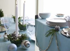candle holders are created by placing low votives in a glass bowl