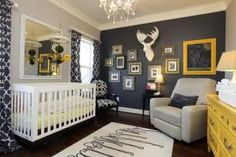 Love a good surprise? Don't let the need for a neutral nursery spoil the fun! Create a look you'll love with these fresh and gender-neutral nursery colors.: Navy, Grey and Yellow