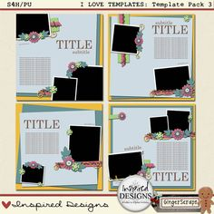 I LOVE TEMPLATES: Template Pack 3 from Inspired Designs