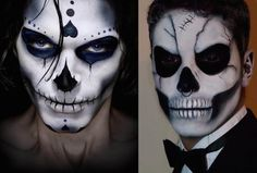 Check Out 23 Best Sugar Skull Halloween Makeup Ideas. Sugar skull makeup is everywhere around Dia de los Muertos, and the skill and work involved in creating many of these looks is mind-blowing. Candy Skull Makeup, Halloween Makeup Sugar Skull, Creepy Halloween Makeup, Amazing Halloween Makeup, Skeleton Makeup, Candy Skulls, Halloween Kostüm, Sugar Skulls, Skeleton Costumes