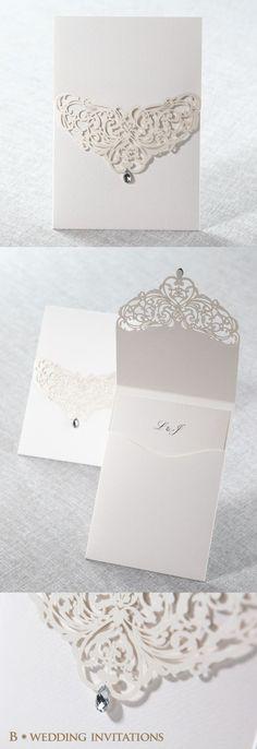 Elegant and luxurious Jeweled White Laser Cut Pocket by B Wedding Invitations