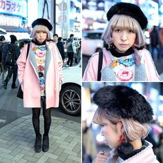 """efc8ac38 Harajuku Japan on Instagram: """"@mmts15 on the street in Harajuku with a cute  pastel hairstyle, a pink shearling coat from Bubbles Harajuku over a donut  print ..."""